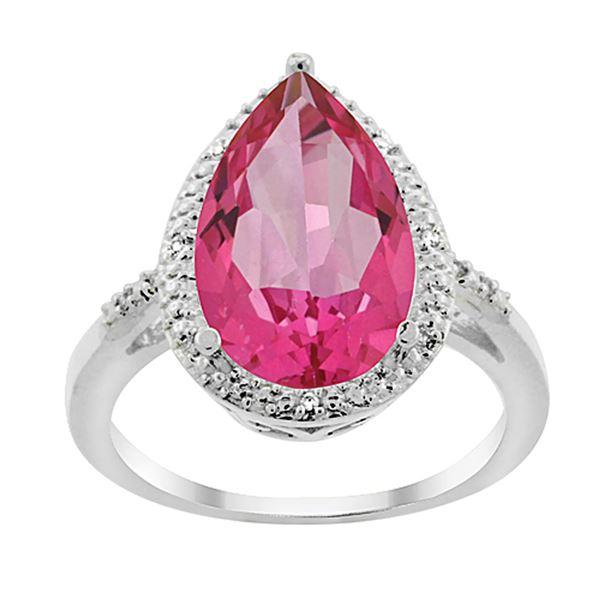 5.55 CTW Pink Topaz & Diamond Ring 14K White Gold - REF-44R9H
