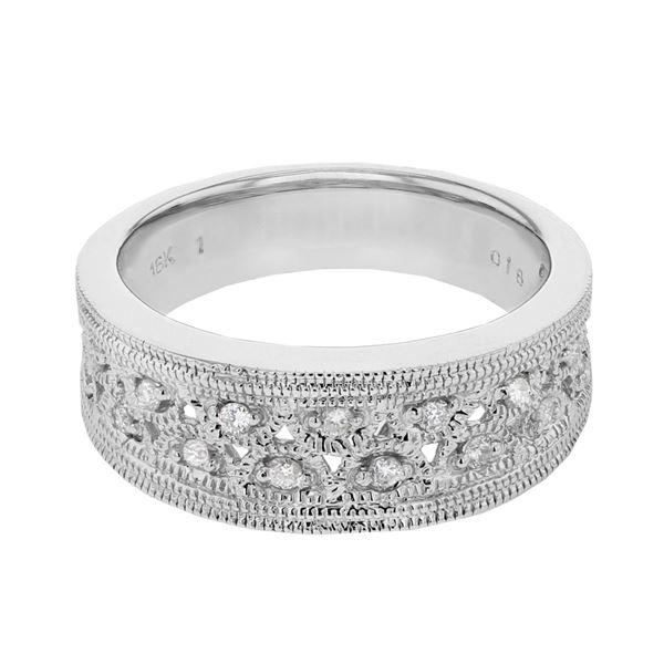 Natural 0.18 CTW Diamond Ring 18K White Gold - REF-100W8H