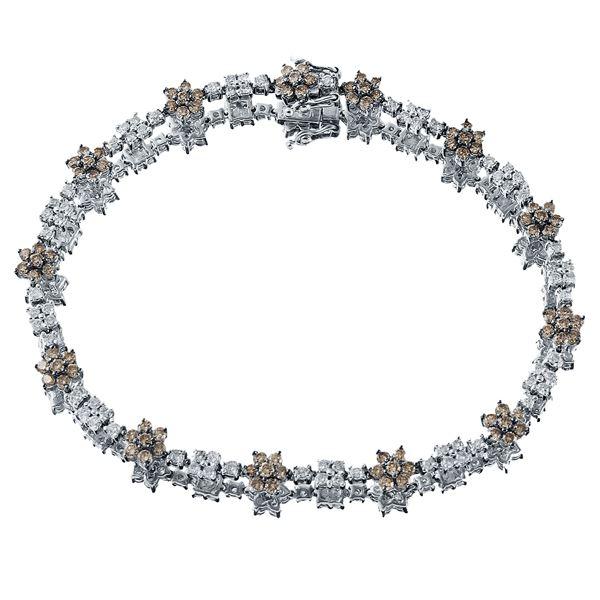 Natural 2.76 CTW Brown Round Diamond Bracelet 14K White Gold - REF-122N4Y