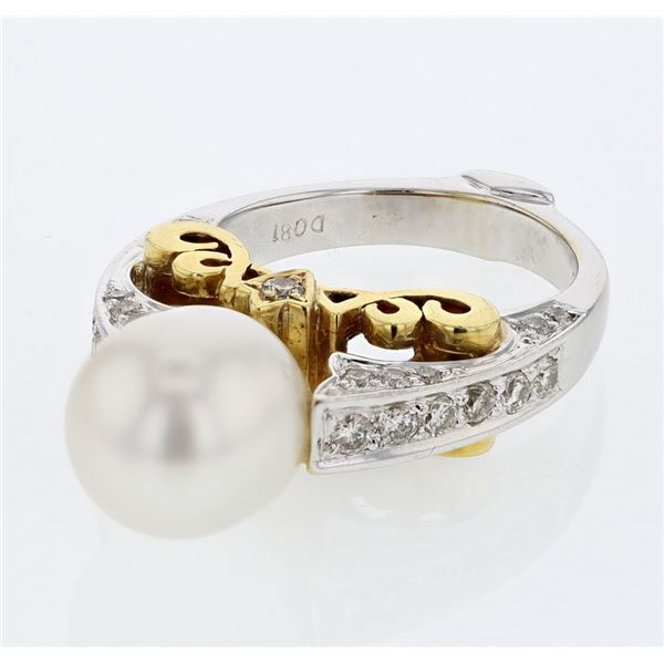 Natural 10.44 CTW Pearl & Diamond Ring 18K Two Tone Yellow Gold - REF-204T3X