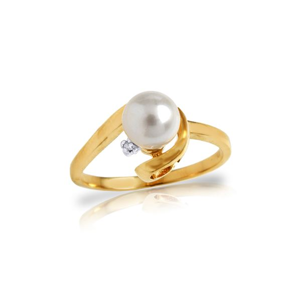 Genuine 1.01 ctw Pearl & Diamond Ring 14KT Yellow Gold - REF-38R2P