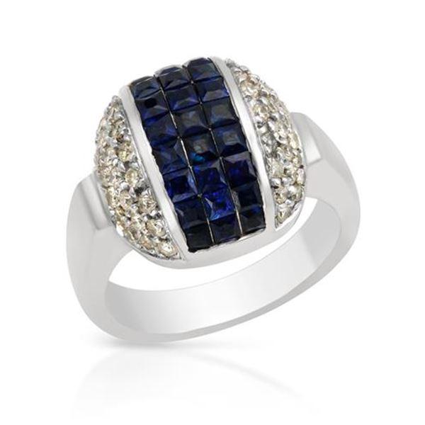 Natural 2.18 CTW Sapphire & Diamond Ring 18K White Gold - REF-267K3R