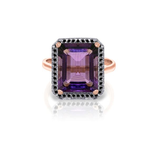 Genuine 5.8 ctw Amethyst & Black Diamond Ring 14KT Rose Gold - REF-79A8K