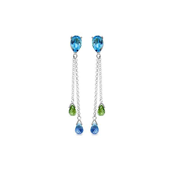 Genuine 7.5 ctw Blue Topaz & Peridot Earrings 14KT White Gold - REF-39W3Y