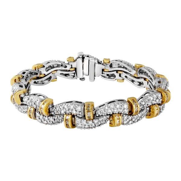 Natural 6.20 CTW Diamond Bracelet 14K Gold - REF-726K3R