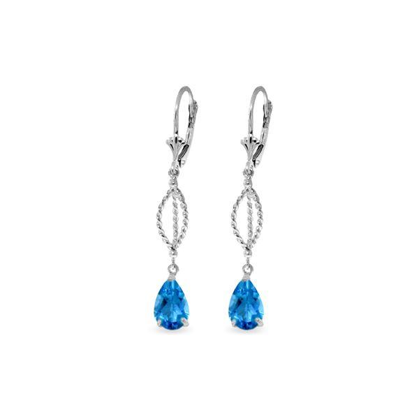 Genuine 3 ctw Blue Topaz Earrings 14KT White Gold - REF-45A5K