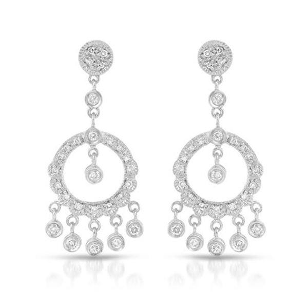 Natural 0.60 CTW Diamond Earrings 18K White Gold - REF-105T3X