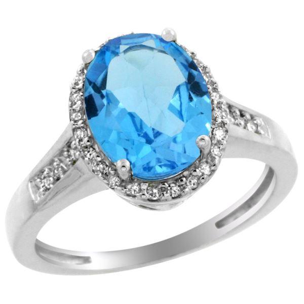 2.60 CTW Swiss Blue Topaz & Diamond Ring 14K White Gold - REF-54R7H
