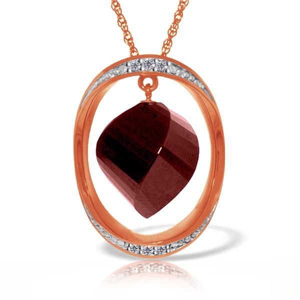 Genuine 15.35 ctw Ruby & Diamond Necklace 14KT Rose Gold - REF-124H2X