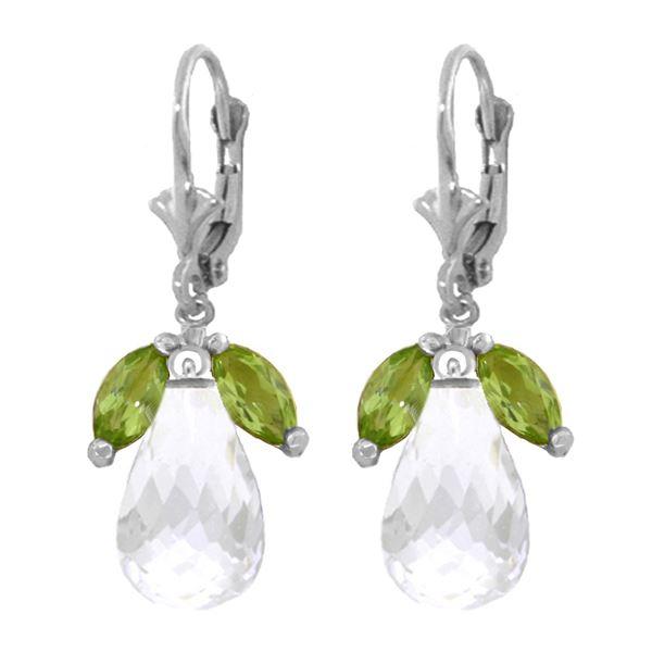 Genuine 14.4 ctw White Topaz & Peridot Earrings 14KT White Gold - REF-46K7V