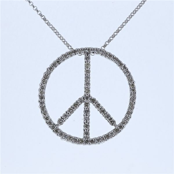 Natural 0.80 CTW Diamond Necklace 14K White Gold - REF-82K8R