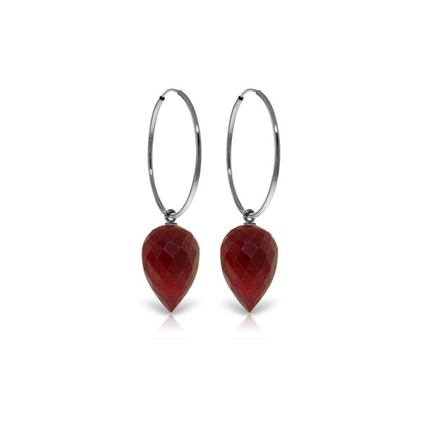 Genuine 26.1 ctw Ruby Earrings 14KT White Gold - REF-36V9W