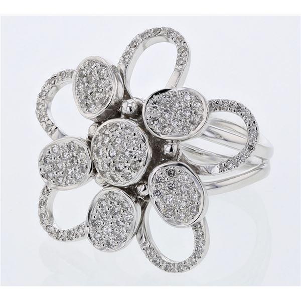 Natural 0.95 CTW Diamond Ring 18K White Gold - REF-234K9R