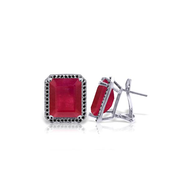 Genuine 14.9 ctw Ruby & Black Diamond Earrings 14KT White Gold - REF-201T5A