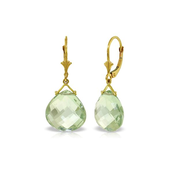 Genuine 17 ctw Green Amethyst Earrings 14KT Yellow Gold - REF-38N2R