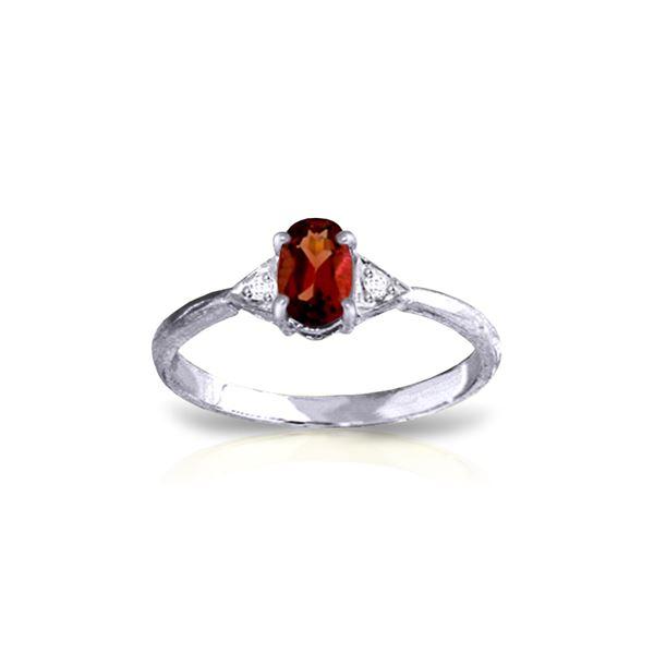 Genuine 0.46 ctw Garnet & Diamond Ring 14KT White Gold - REF-22R5P