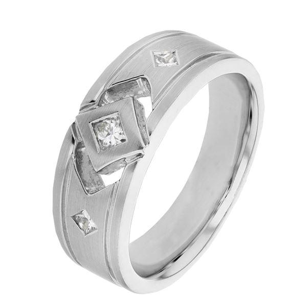 Natural 0.31 CTW Princess Diamond Ring 14K White Gold - REF-158T4X