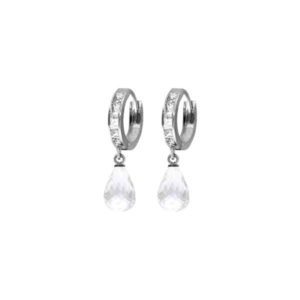 Genuine 5.35 ctw White Topaz Earrings 14KT White Gold - REF-43W6Y