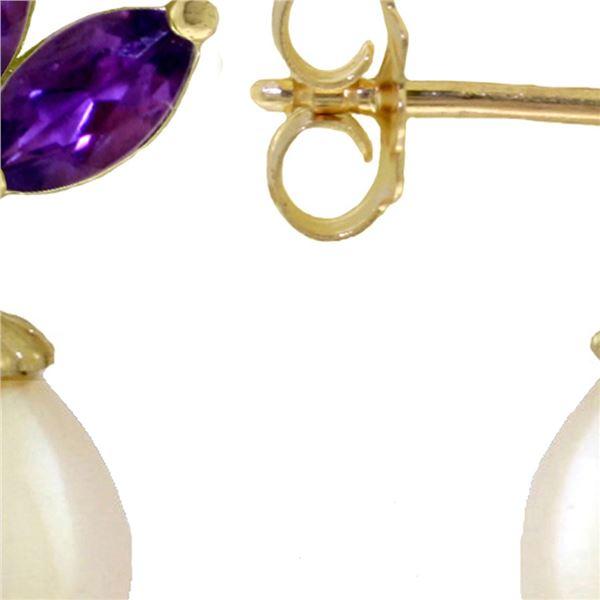 Genuine 9.5 ctw Amethyst & Pearl Earrings 14KT White Gold - REF-31K2V