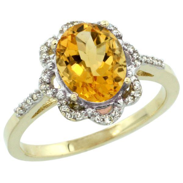 1.86 CTW Citrine & Diamond Ring 10K Yellow Gold - REF-36K5W