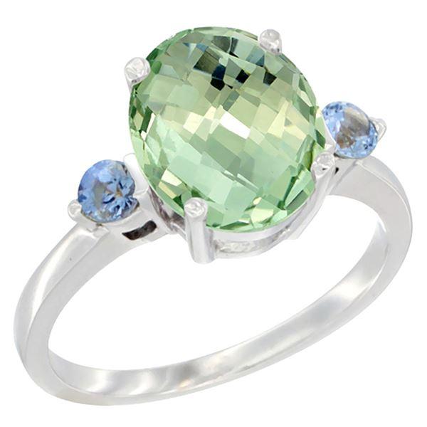2.64 CTW Amethyst & Blue Sapphire Ring 14K White Gold - REF-32M3K