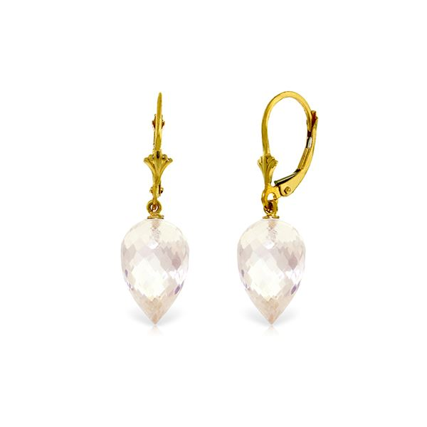 Genuine 24.5 ctw White Topaz Earrings 14KT Yellow Gold - REF-48N3R