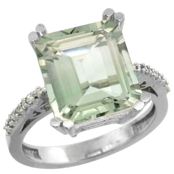 5.52 CTW Amethyst & Diamond Ring 10K White Gold - REF-43M9A