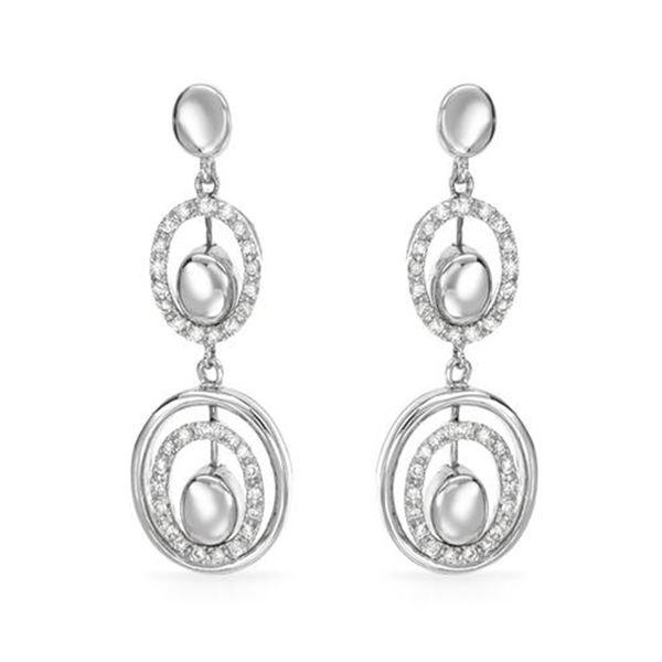 Natural 0.39 CTW Diamond Earrings 14K White Gold - REF-75N6Y