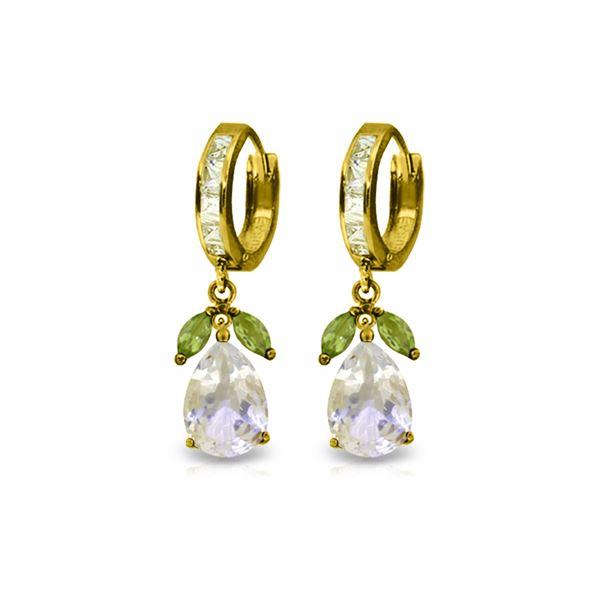 Genuine 14.3 ctw White Topaz & Peridot Earrings 14KT Yellow Gold - REF-82F9Z