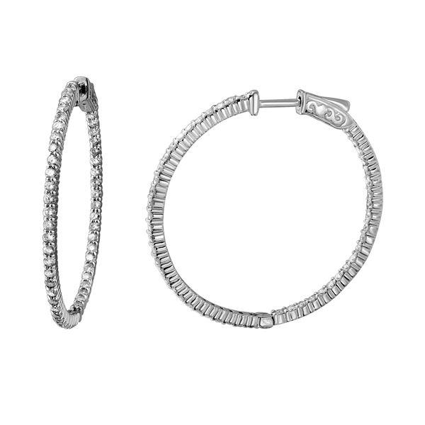 Natural 2.40 CTW Diamond Earrings 14K White Gold - REF-217F8M