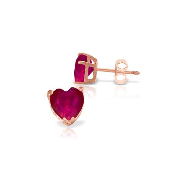 Genuine 2.9 ctw Ruby Earrings 14KT Rose Gold - REF-27W6Y