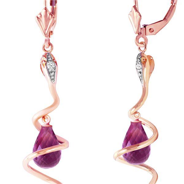 Genuine 4.56 ctw Amethyst & Diamond Earrings 14KT Rose Gold - REF-91A4K