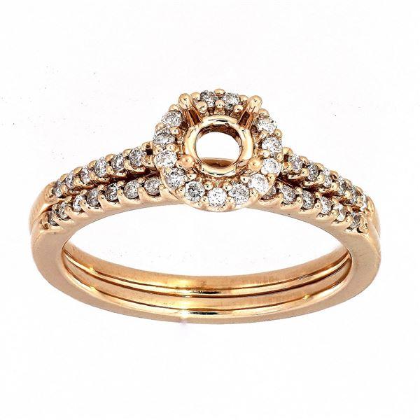 Natural 0.30 CTW Diamond Wedding Ring Set 14K Rose Gold - REF-54F2M