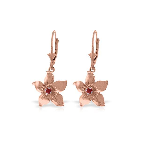Genuine 0.20 CTW Ruby Earrings 14KT Rose Gold - REF-66Y5F