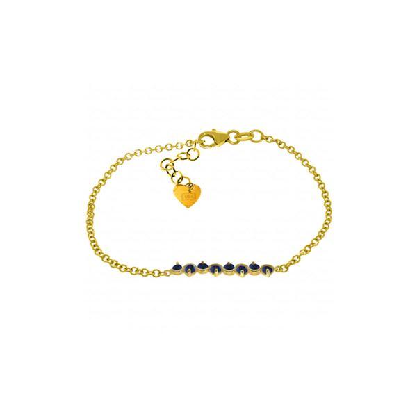Genuine 1.55 ctw Sapphire Bracelet 14KT Yellow Gold - REF-62P7H