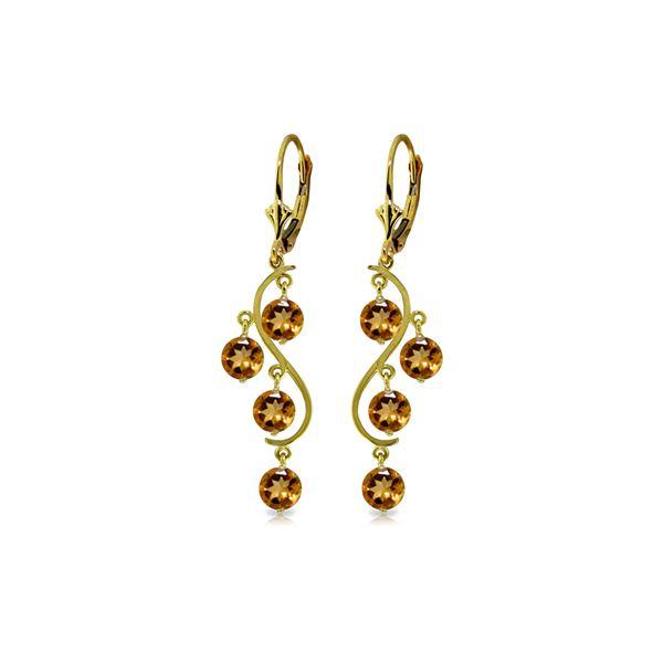 Genuine 4.95 ctw Citrine Earrings 14KT Yellow Gold - REF-53K8V