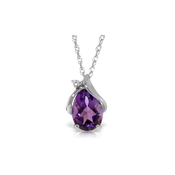 Genuine 1.53 ctw Amethyst & Diamond Necklace 14KT White Gold - REF-28A3K