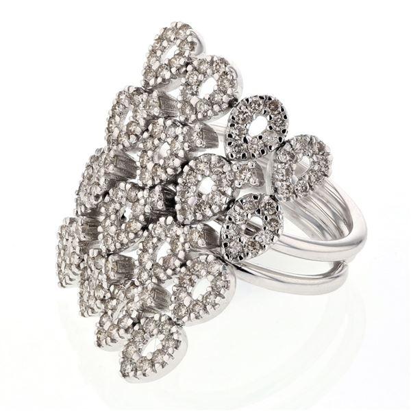 Natural 1.29 CTW Diamond Ring 14K White Gold - REF-144F2M