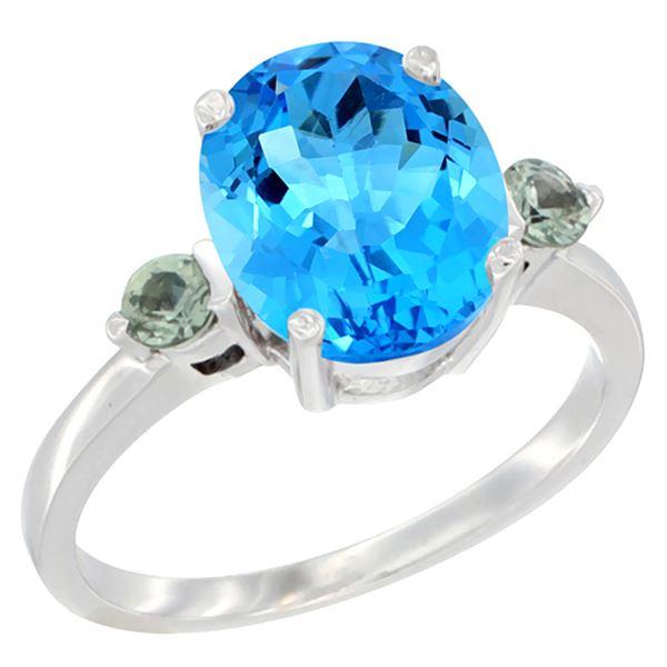 2.64 CTW Swiss Blue Topaz & Green Sapphire Ring 14K White Gold - REF-32F3N