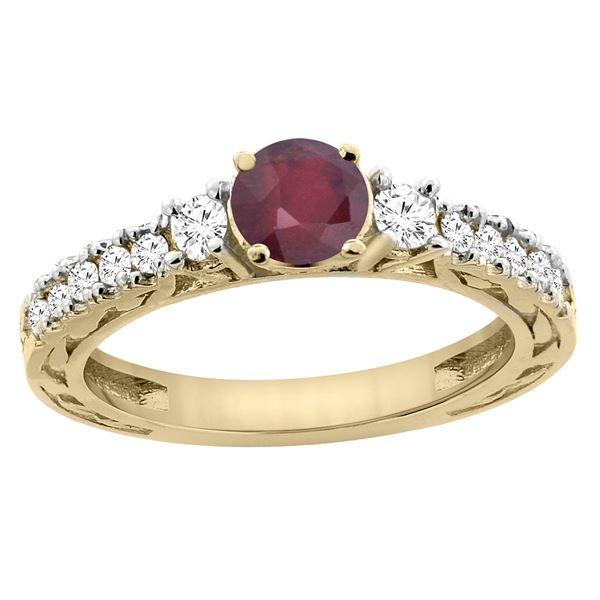 1.40 CTW Ruby & Diamond Ring 14K Yellow Gold - REF-80N2Y
