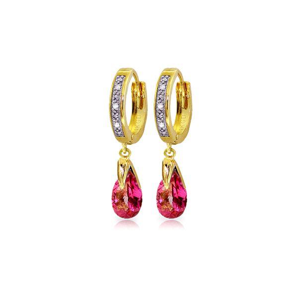 Genuine 2.53 ctw Pink Topaz & Diamond Earrings 14KT Yellow Gold - REF-58Z7N