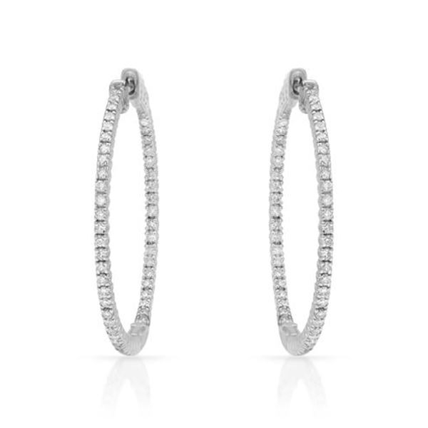 Natural 0.96 CTW Diamond Earrings 14K White Gold - REF-165N6Y