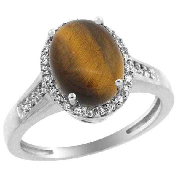 2.60 CTW Tiger Eye & Diamond Ring 14K White Gold - REF-52Y7V