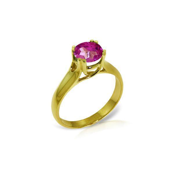 Genuine 1.10 ctw Pink Topaz Ring 14KT Yellow Gold - REF-57M6T