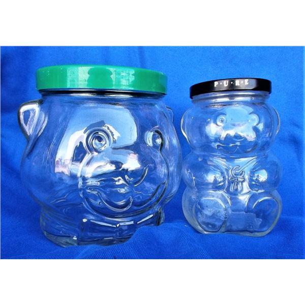 Two Vintage Kraft Peanut Butter Bear Jars