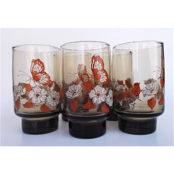Vintage Glassware - Set of 5 Butterfly Pattern