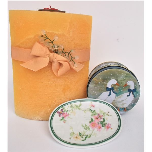 Large Candle, Tin, and Soap Dish