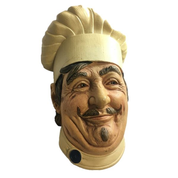 """Vintage Chalkware Head """"CHEF"""" wall hanging made in England"""