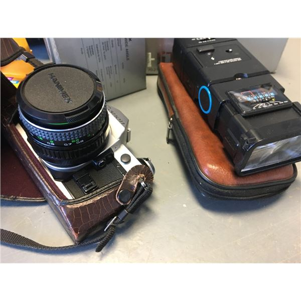 Canon AE-1 35mm Camera with case, extra lens and flash