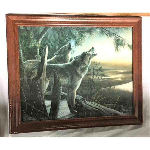Kevin Daniel Framed Art Print - Wolves Howling
